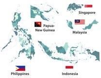 Wektorowe wysokie szczegółowe mapy i flaga kraje azjatyccy z administracyjnych podziałów regionów granicami ilustracji