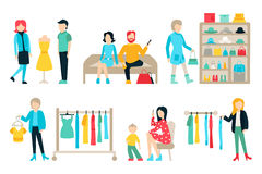 Wektorowe zakupy i wysyłki płaskie ikony ustawiać Centrum handlowe personel, Szczęśliwe nabywcy Odizolowywać Na Białym tle Zdjęcia Royalty Free
