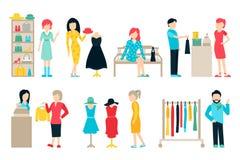 Wektorowe zakupy i wysyłki płaskie ikony ustawiać Centrum handlowe personel, Szczęśliwe nabywcy Odizolowywać Na Białym tle Obrazy Royalty Free