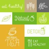 Wektorowe zdrowe i świeże produkt rolniczy etykietki royalty ilustracja