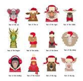 Wektorowe zwierzę głowy w czerwieni nakrywają szaliki Chińscy horoskopów symbole Zdjęcia Stock