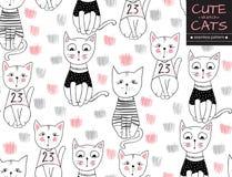 Wektorowego śmiesznego kota bezszwowy wzór Śliczna ręka rysujący figlarki illust ilustracja wektor