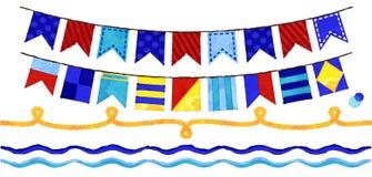 Wektorowego akwarela stylu Nautyczna arkana, fala i chorągiewka, Obrazy Royalty Free