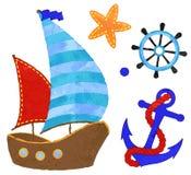 Wektorowego akwarela stylu Nautyczna kotwica z arkaną, koło, statek Obrazy Royalty Free
