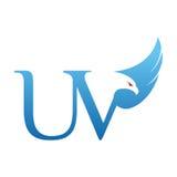 Wektorowego Błękitnego jastrzębia inicjału ULTRAFIOLETOWY logo zdjęcie stock
