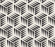 Wektorowego Bezszwowego Czarny I Biały Cierniowego kształta Kubiczny Geometryczny wzór Obraz Stock