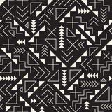 Wektorowego Bezszwowego Czarny I Biały Retro 80's bigosu Kreskowych kształtów modnisia Geometryczny wzór Zdjęcie Stock
