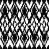Wektorowego bezszwowego czarny i biały ikat etniczny wzór Zdjęcia Royalty Free