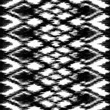 Wektorowego bezszwowego czarny i biały ikat etniczny wzór Obraz Stock