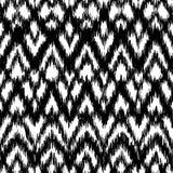 Wektorowego bezszwowego czarny i biały ikat etniczny wzór Obrazy Stock