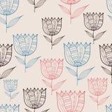Wektorowego Bezszwowego Doodle Kwiecisty wzór z tulipanami Obraz Royalty Free