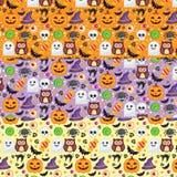 3 Wektorowego bezszwowego wzoru różnego koloru dla Halloween Zdjęcia Royalty Free
