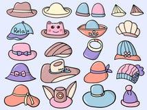 Wektorowego charakteru projekta kapeluszu ślicznego stylu Ustalona ilustracja Obraz Stock