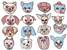Wektorowego charakteru projekta ślicznego psa Ustalona ilustracja Fotografia Royalty Free