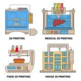 Wektorowego 3d drukarki mieszkania ikony cienki kreskowy set Zdjęcie Royalty Free