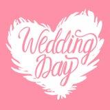 Wektorowego dnia ślubu biały ilustracyjny łabędzi serce odizolowywający na różowym tle Literowanie inskrypcje Zdjęcia Stock