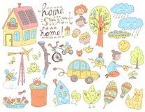 Wektorowego doodle śliczna kolekcja ekologia i rodzina Natura, alt ilustracja wektor