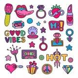 Wektorowego doodle clipart lineart girly elementy ustawiający royalty ilustracja