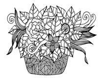 Wektorowego doodle kwiecisty obrazkowy Bukiet kwiaty w wazie, ręka rysunek royalty ilustracja