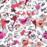 Wektorowego doodle romantyczny bezszwowy wzór Projekt dla moda tekstylnego druku, opakowanie, valentines dnia tła royalty ilustracja