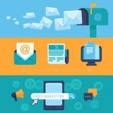 Wektorowego emaila marketingowi pojęcia - płaskie ikony ilustracji