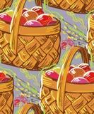 Wektorowego farba stylu projekta kwiatu kolorowy kosz royalty ilustracja