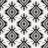 Wektorowego grunge monochromatyczny bezszwowy dekoracyjny etniczny wzór Zdjęcia Royalty Free
