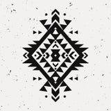 Wektorowego grunge monochromatyczny dekoracyjny etniczny wzór Fotografia Stock