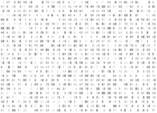 Wektorowego heksadecymalnego kodu biały bezszwowy tło Duzi dane i programowanie sieka, decryption utajnianie, komputerowy lać się Zdjęcia Royalty Free