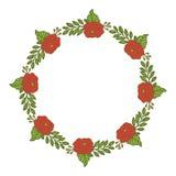 Wektorowego ilustracji ramy kwiatu różana czerwień odizolowywał białego tło ilustracja wektor