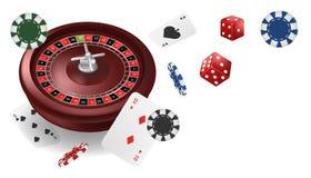 Wektorowego ilustracyjnego Online grzebaka kasynowy sztandar z roullete, układami scalonymi, kartami do gry i kostkami do gry, od ilustracja wektor