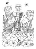 Wektorowego ilustracyjnego zentangl kobiety dziewczyny Hiszpańska pozycja wewnątrz w kwiatach Doodle rysunek Medytacyjni ćwiczeni obrazy stock