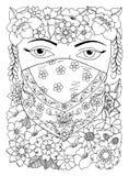 Wektorowego ilustracyjnego zentangl orientalna dziewczyna w kwiatach Doodle rysunek Kolorystyki książki anty stres dla dorosłych  zdjęcie royalty free