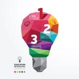 Wektorowego infographic żarówka projekta wieloboka Konceptualny styl Obraz Stock