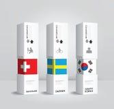 Wektorowego infographic Nowożytnego pudełkowatego krajowego projekta Minimalne stylowe zastępcy Zdjęcia Stock