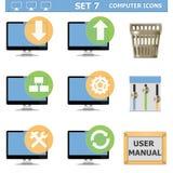 Wektorowego komputeru ikony Ustawiają 7 Obrazy Stock