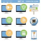 Wektorowego komputeru ikony Ustawiają 8 Obrazy Stock