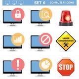 Wektorowego komputeru ikony Ustawiają 6 Obraz Royalty Free
