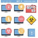 Wektorowego komputeru ikony Ustawiają 9 Obrazy Stock