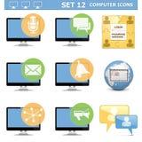 Wektorowego komputeru ikony Ustawiają 12 Zdjęcia Royalty Free