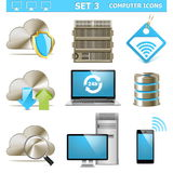 Wektorowego komputeru ikony Ustawiają 3 Fotografia Stock