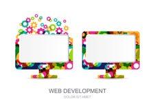 Wektorowego komputeru monitoru ikona budował od kolorowych przekładni cogs Abst Fotografia Stock