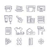 Wektorowego konturu drukowe ikony ustawiać Drukarka, spiskowiec, farby i ilustracja wektor