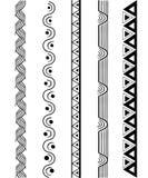 Wektorowego kreskowej granicy setu i geometrycznego projekta elementy Zdjęcia Royalty Free