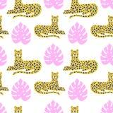 Wektorowego lamparta i tropikalnej liść dżungli zwierzęcy bezszwowy wzór ilustracji