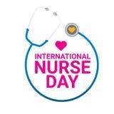 Wektorowego międzynarodowego pielęgniarka dnia wektorowa etykietka royalty ilustracja