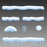 Wektorowego mieszkania kreskówki ustalony śnieg, snowdrift, sople ilustracji