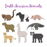 Wektorowego mieszkanie stylu ustaleni zwierzęta Ameryka Południowa royalty ilustracja