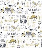 Wektorowego moda kota bezszwowy wzór Śliczna figlarki ilustracja wewnątrz royalty ilustracja