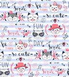 Wektorowego moda kota bezszwowy wzór Śliczna figlarki ilustracja wewnątrz ilustracji